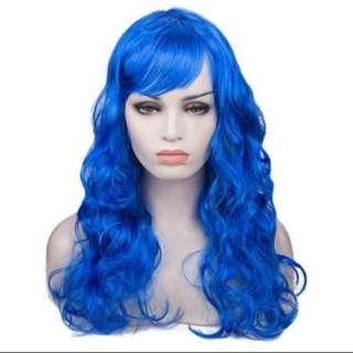 WOMEN LONG BIG WAVY WIG HAIR COSPLAY PARTY COSTUME (BLUE) 12.00 x 10.50 x 6.50 cm (PRE-ORDER)