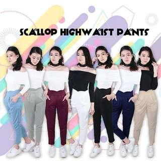 SCALLOP HIGHWAIST PANTS