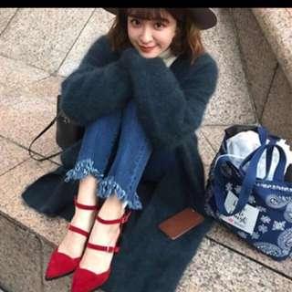 Grace Gift 薛妞妞聯名款粗跟絨布尖頭涼鞋24.5