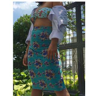 Set of Floral Tube top and Skirt
