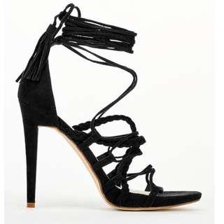 black lace up heels sz 5.5