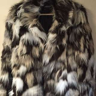 New multi faux fur and pu leather blazer style jacket