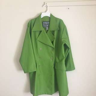 Green Faux Leather Trench Coat