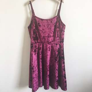 Material Girl Wine Velvet Dress