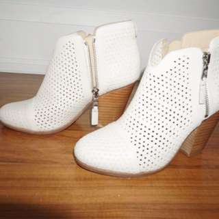 NEW Rag & Bone White Perforated Leather Booties