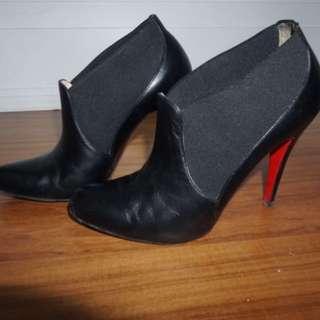 Christian Louboutin Black Leather Booties
