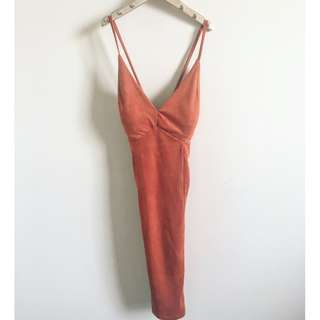 Sexy Fitted Rustic Orange Dress