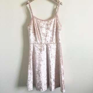 Champagne Pink Velvet Dress