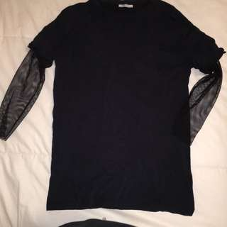 Zara shirt with fish net sleeves