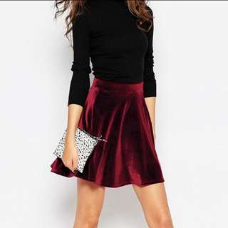 📮💚 BNIP Wine Red Velvet Skater Skirt
