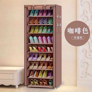 9 Layer Brown Shoe Rack Wardrobe Organizer Cabinet