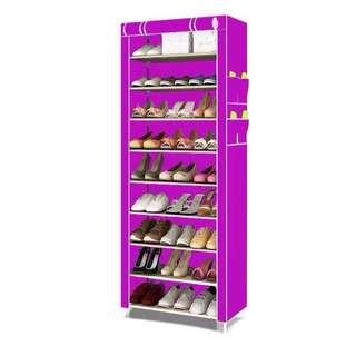 9 Layer Purple Shoe Rack Organizer Wardrobe Cabinet
