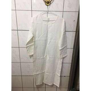(含運)白色亞麻長洋裝