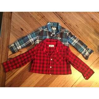 Boys Milkshake red & blue checked shirts, size 3