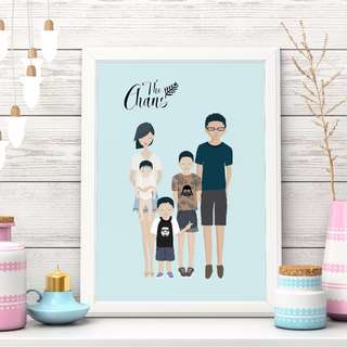 [somegoodwords] Family Portrait, Family Cartoon, Family Illustration, Art Print, Customised, Gift, Home Décor, Product Code 161c