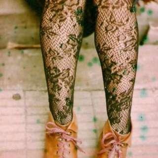 Floral Patterned Black Stockings