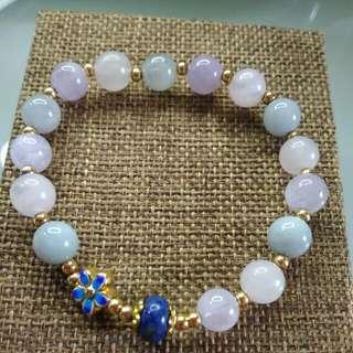 粉水晶,紫水晶,海藍寶,青金石,鍍金手珠