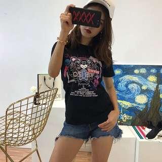 【平價批發零售】KENZO新款男女款老虎头印花情侶短袖T恤尺寸:S-XXXL