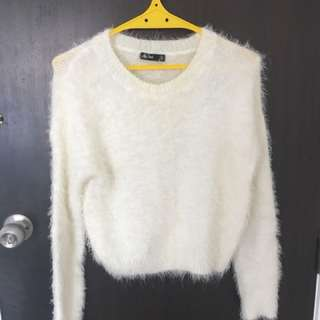 Soft cute fluffy winter crop top