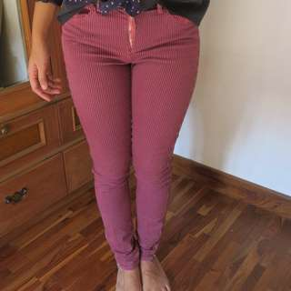 Striped Skinny Pants in Red