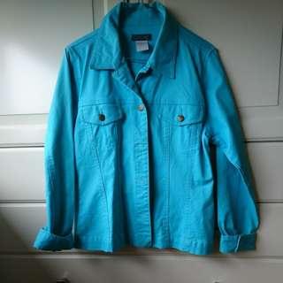 Aqua denim jacket 90s collar buttons size S blue green bright