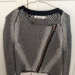 Sunny Girl black and white knitted jacket.Size small, worn a couple of times.