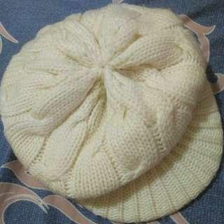 白色 毛線帽 #十月免購物我送你