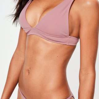 MISSGUIDED Mauve Neoprene Triangle Bikini Set