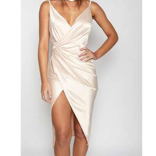 satin dress / champagne wrap detail