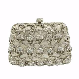 Rock & Roll Silver Crystal Women Skull Mini Evening Boutique Clutches Handbag Wedding Clutch Bridal Purse