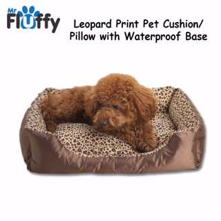 Leopard Print Pet Cushion / Pillow with Waterproof Base