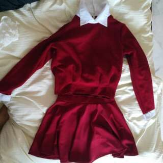 RED LONG SLEEVE COLLARED SHIRT AND SKIRT