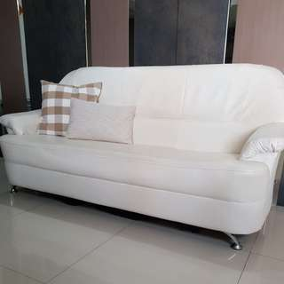 PU leather 3 seater sofa in beige color