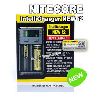 Nitecore IntelliCharger NEW i2 26650 18650 14500 18350 16340 LI-ION and AA AAA Ni-MH Charger - 2 Flat Pin Plug