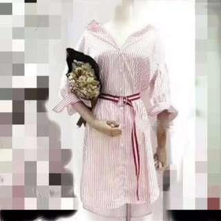 韓襯衫直條紋洋裝