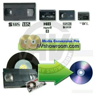 Avshowroom Provides Service To Convert your VHS / S-VHS / VHS-C / Video8 / Hi8 / Digital8 / MiniDV / PAL / NTSC / Audio Cassette tapes / MiniDisc (MD) / LP Vinyl Records to Digital DVD / CD or Digital Files