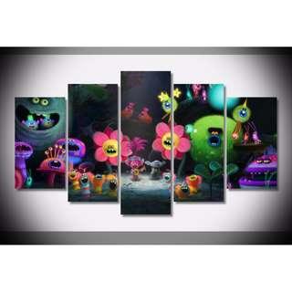 5 Piece Framed Printed Painting Trolls Bedroom Decor For Kids