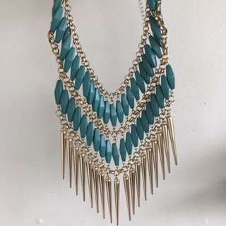 Gold and Green Fringe Bib Necklace