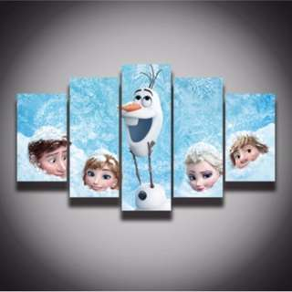 5 Piece Framed Print Disney Frozen Kids Room Decor