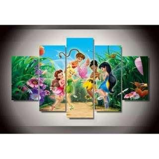 5 Piece Framed print Disney Tinkerbell and Friends