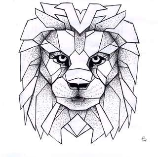 Lion fine liner drawing
