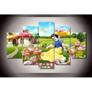 5 Piece Framed Print Disney Snow White