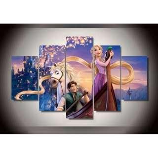 5 Piece Framed Print Disney Tangled