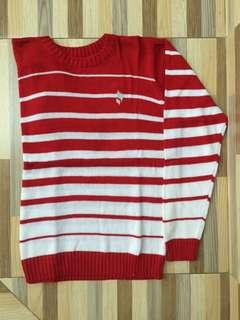 Sweater O-Neck Stripe White