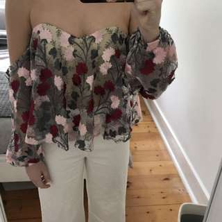 Floral Embroidered Off Shoulder Top 'Here Comes The Sun' 6 XS