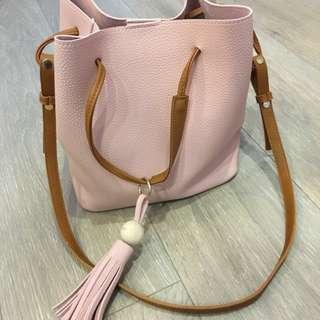 正版韓貨粉色皮革包包