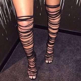 High boots gladiator heels