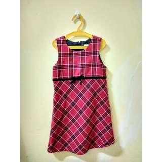 Red Elegant Checkered Dress