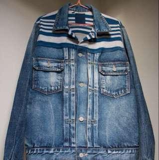 Visvim 101 JKT  DAMAGED (BORDER) 天然染古布條紋夾克 余文樂著用 牛仔外套