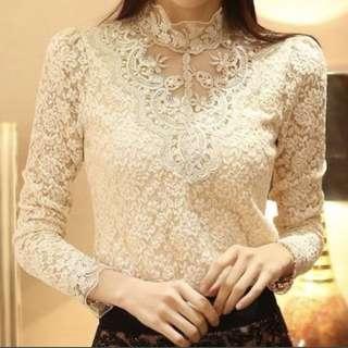 Women Crochet Blouse Lace Chiffon shirt
